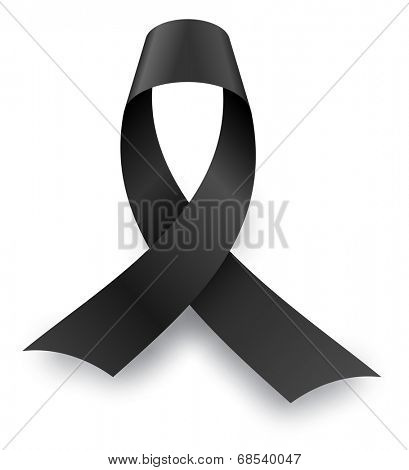 Black mourning knot with shadow isolated on white background.