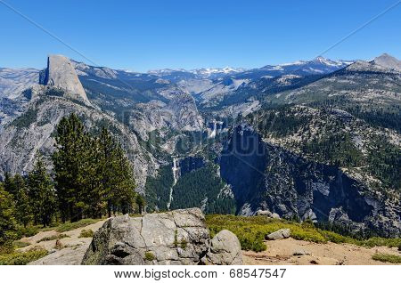 Half Dome Little Yosemite Valley Liberty Cap Nevada Falls and Vernal Falls poster