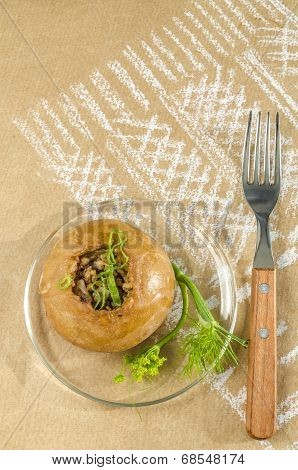 Small Scone With Buckwheat And Onions.