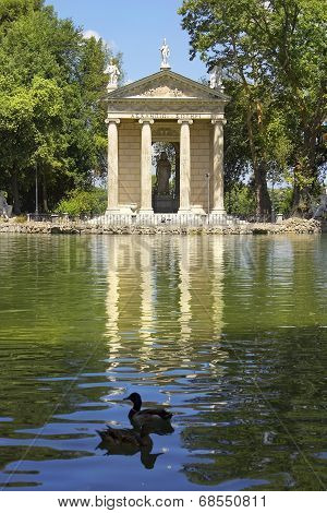 Pond And Temple Of Aesculapius, Villa Borghese Gardens, Rome