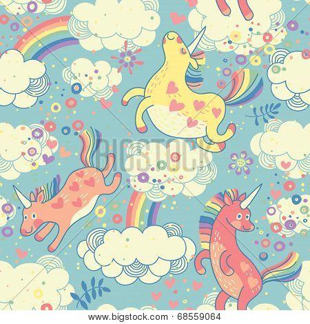 Cute seamless pattern with rainbow unicorns