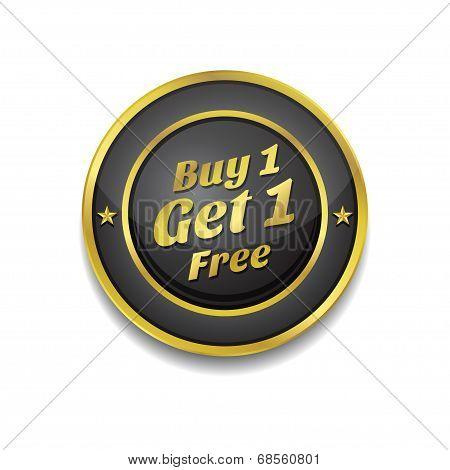 Buy 1 Get 1 Free Glossy Shiny Circular Vector Button