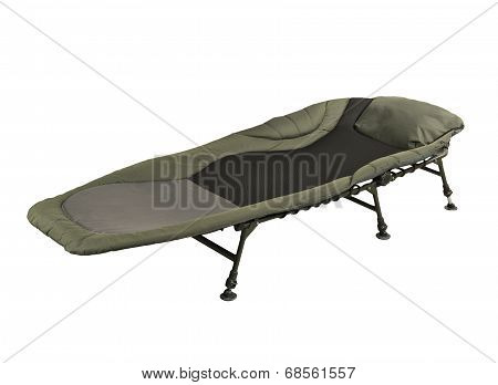 Green camp bed isolated on white background poster