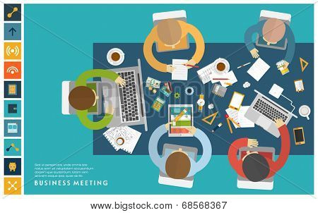 Set of Flat Style Illustrations: Office Worker, Business Meeting and Brainstorming, Product Presentation, Development for Business Design.