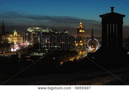 Central Edinburgh, Scotland, Uk, At Nightfall