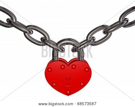Lock of love - heart lock and chain