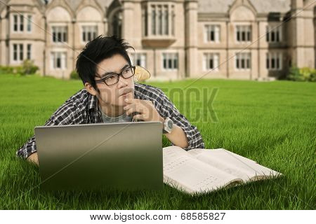 Thoughtful Student In The Park