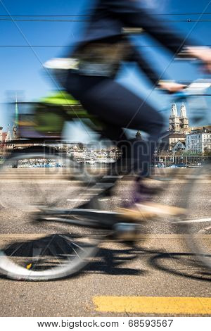 Zurich cityscape with motion blurred city traffic poster