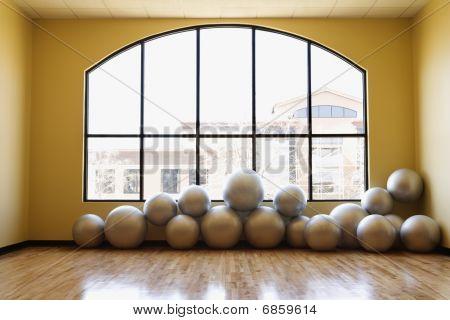 Balance Balls On Floor In Gym