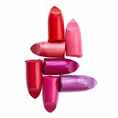 Coloured Lipsticks isolated on a white background poster