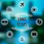 Summer holidays flat icons on blurred background. Web design mobile interface poster