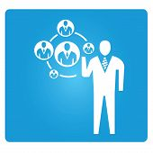 human resource management concept in blue button poster