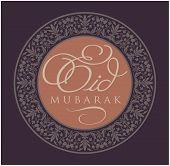 'Eid Mubarak' message in english script with decorative border poster