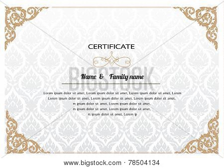 Certificate Design Template. thai pattern vector illustration poster