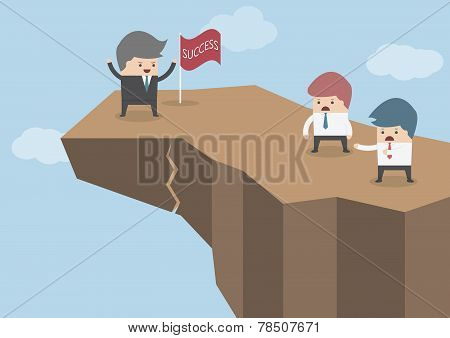 Businessman Standing On The Top Of The Dangerous Cliff, Business Risks Concept