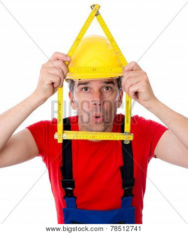 Worker With Folding Yardstick- House