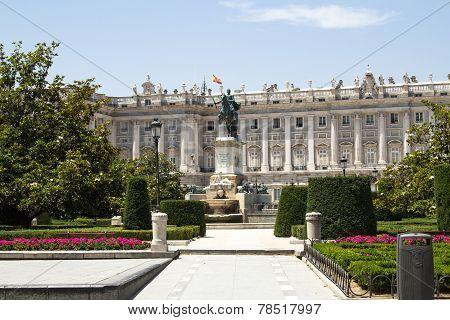 Plaza De Oriente, Statue Of Felipe Iv. Madrid, Spain