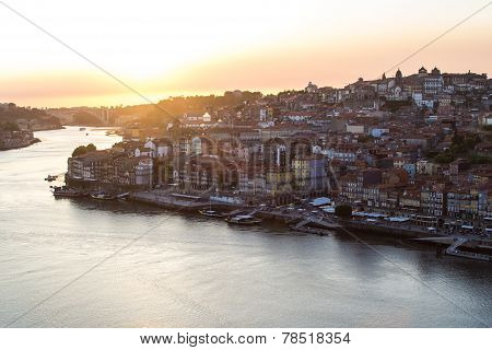 Porto City. View Of Douro River At Sunset