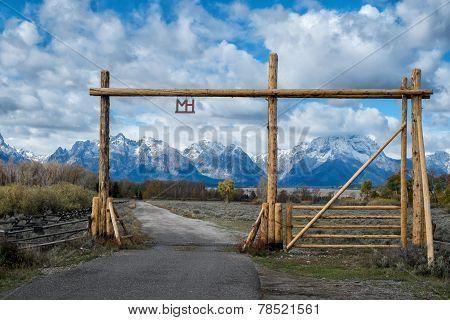 Ranch gate in Grand Teton