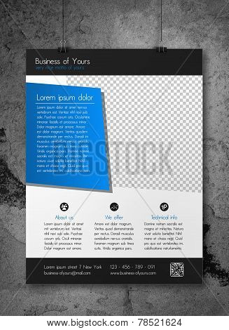 Business flyer template - clean modern design of corporate blue and dark grey