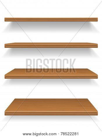 Wooden Shelves Vector Illustration