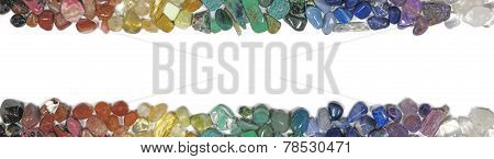 Header and footer of tumbled healing crystals on a white background poster