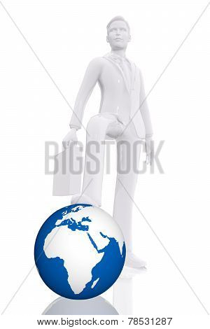 Businessman Dominating Earth