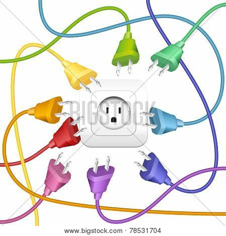 Cable Clutter Plugs Socket Color