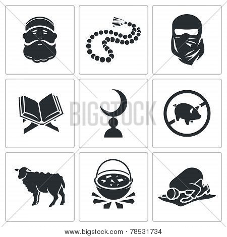 Set Of Islamic Vector Icons