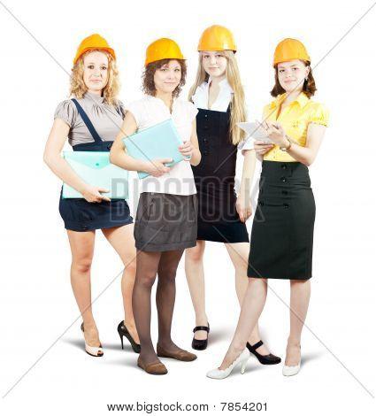 Businesswomen In Hard Hat With Documents