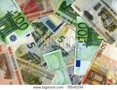 European currency (Euro) and Belarusian banknotes (Rubles) background poster