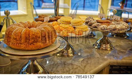Bisquits, Cakes, Cookies And Whoopie Cookies On The Storefront In Bakery