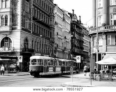 Vienna, Austria - July 2014: People And Tram In Vienna, Austria Black And White