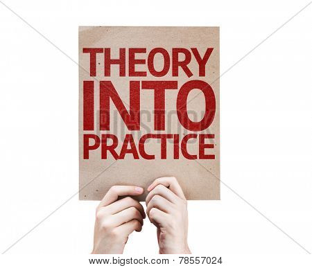 Theory Into Practice card isolated on white background
