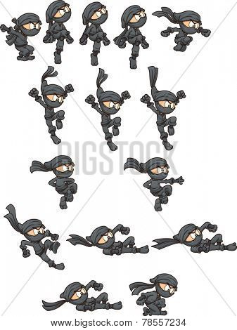 Cartoon ninja ready for animation. Jumping,falling, throwing and sliding actions. Vector clip art illustration with simple gradients. Each on a separate layer.