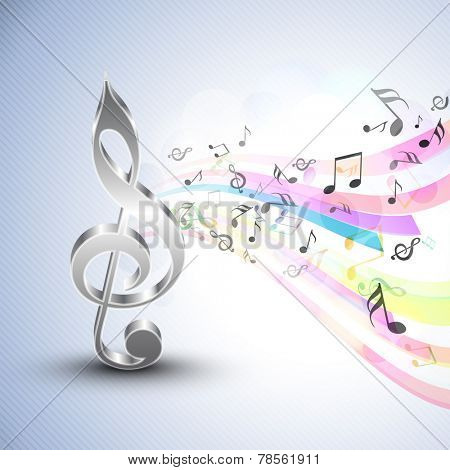 3D g-clef with musical notes and colorful waves on stylish seamless blue background.