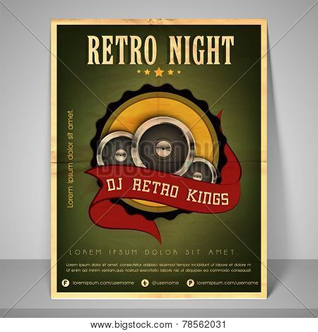Retro banner or flyer for retro night with address bar, place holder and mailer.
