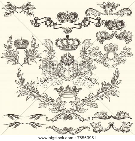 Collection Of Vector Frames With Crowns And  Coat Of Arms