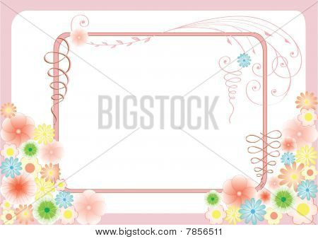 Floral greeting card with flowers and curls