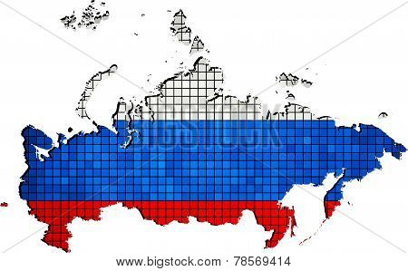 Russia map with flag inside