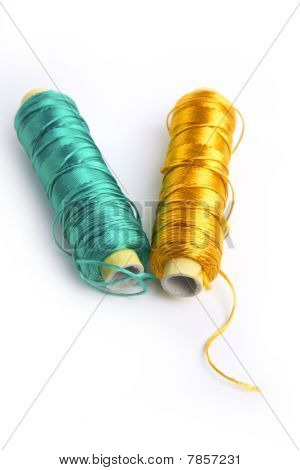 Metallic Rayon Thread Line Spool Green And Gold