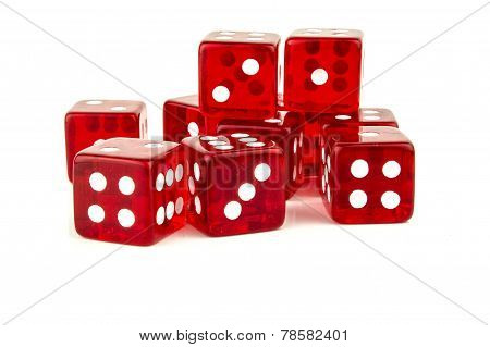 Lucky Red Dice Scattered