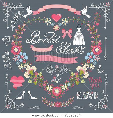 Bridal Shower Template Set.decor Element,floral Wreath