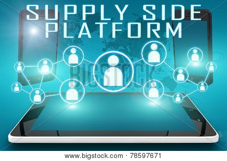 Supply Side Platform - text illustration with social icons and tablet computer and mobile cellphones on cyan digital world map background poster