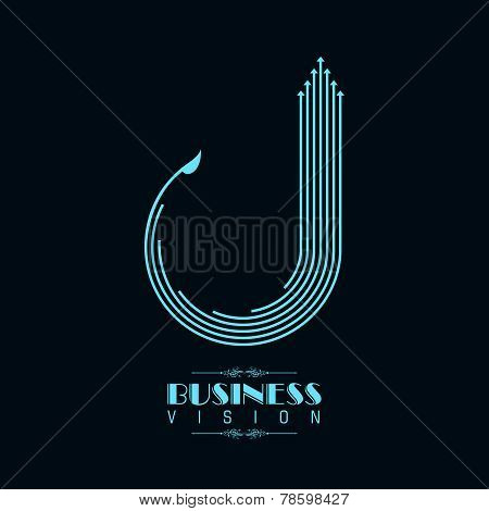 Blue arrow icon for business stock vector