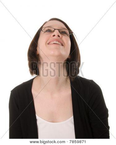 Happy Woman Looks Up