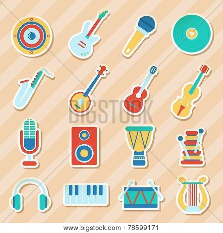 Set of musical stickers. Vector illustration