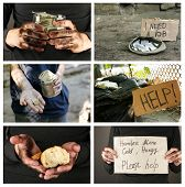Poverty concept. Homeless men ask for help collage poster