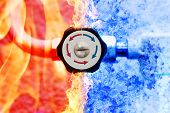 manual heating controller with red and blue arrows in fire and ice background poster