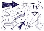 Collection of hand drawn doodle vector arrows in different directions and styles. poster